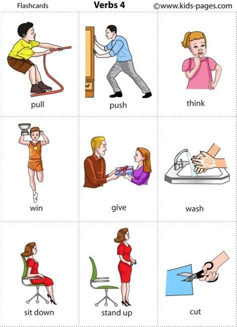 printable pictures verbs kids pages flashcard and kid on pinterest
