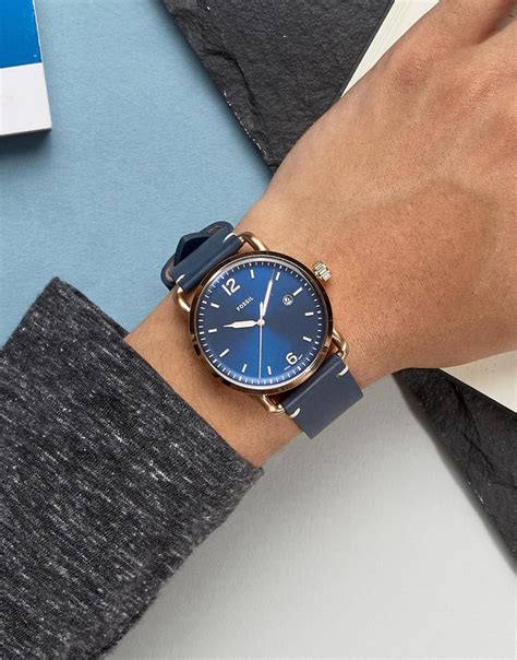 Fossil Leather fossil fs5274 commuter leather in blue in blue for
