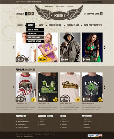 T Shirts Opencart Template Demo Preview T Shirt Website Template Free