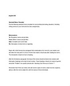 standard templates sle standard memo template 6 free documents