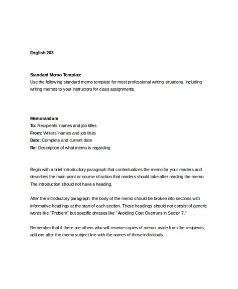 safety memo template sle standard memo template 6 free documents