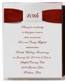 40th anniversary invitation wording ideas 40th anniversary