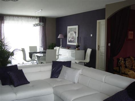 canapé mauve salon moderne blanc