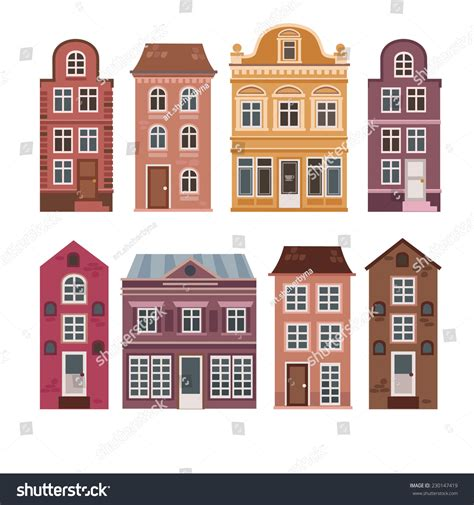 dutch style house plans vector set of houses in the dutch style different color