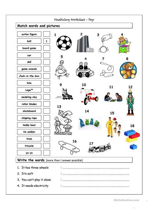 Vocabulary Matching Worksheet by Vocabulary Matching Worksheet Toys Worksheet Free Esl