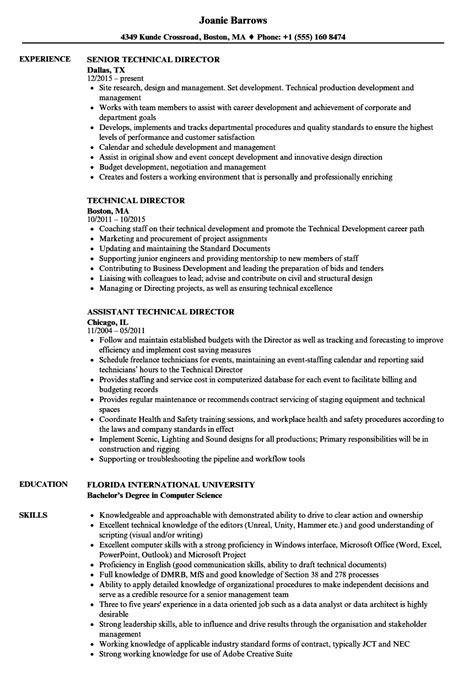 technical director resume sles velvet jobs