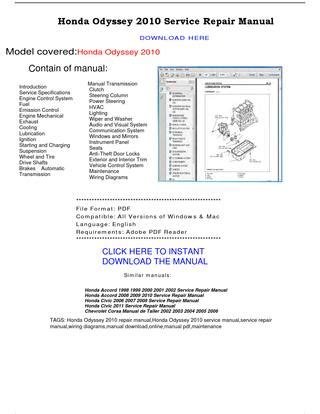 how to download repair manuals 2003 honda odyssey transmission control honda odyssey 2010 service repair manual by repairmanualpdf issuu