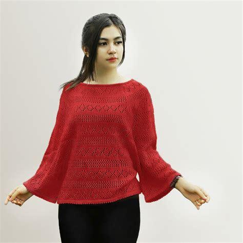 Tas Ransel Rajut Kekinian net crop outerwear pakaian cewek rajut outer