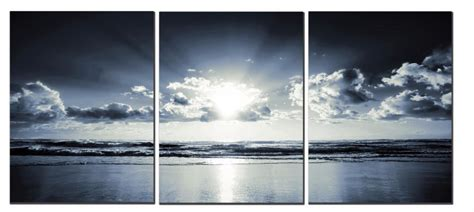 the black white sea sunset canvas wall art living room