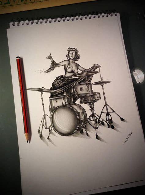 tattoo old school drum pin up and drum kit tattoo artwork