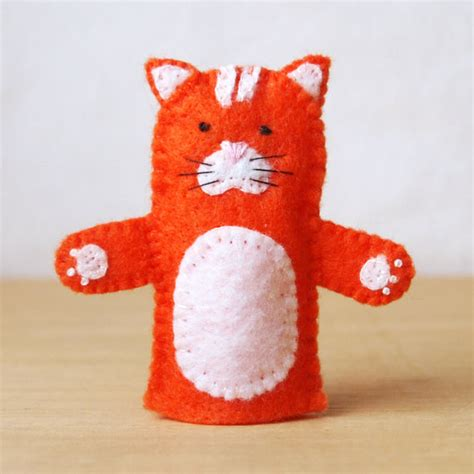Handmade Puppets Patterns - felt finger puppet cat animal puppet storytime puppet