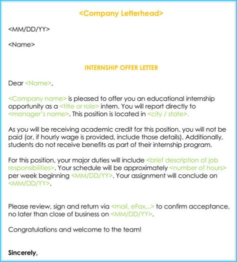 intern in a company sle internship offer appointment letters 7