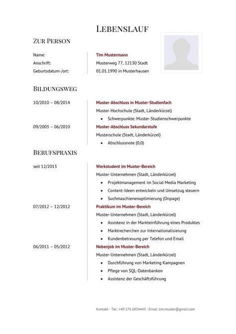 Lebenslauf Muster Jobborse Tabellarischer Lebenslauf Muster Vorlagen Zum