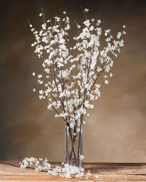 Large Asian Floor Vases Cherry Blossom Silk Flower Stems For Casual Decorating At