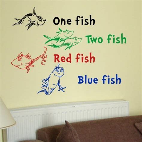 dr suess wall stickers dr seuss wall decals dr seuss one fish two fish fish blue fish wall quote vinyl wall