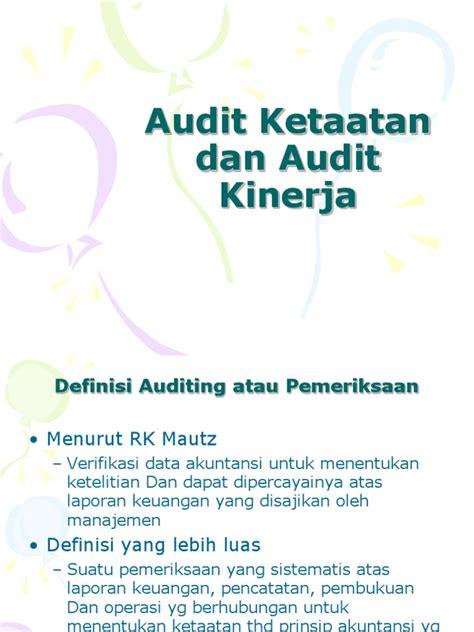 Pemeriksaan Kinerja Performance Auditing audit kinerja dan audit ketaatan