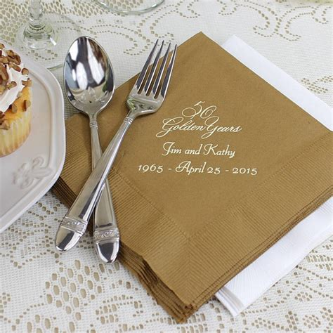 custom printed 50th wedding anniversary luncheon napkins