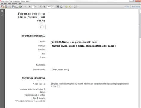 curriculum vitae formato europeo pdf editable pdf xchange viewer