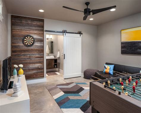 gaming room ideas transitional multipurpose game room with concrete floor