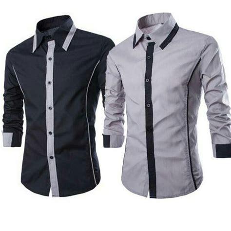 Kemeja Kantor Polos Kemeja Lengan Panjang Slim Fit baju kemeja pria lengan panjang desain slim fit keren dan