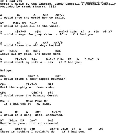 lyrics frank sinatra song lyrics with guitar chords for if i had you frank
