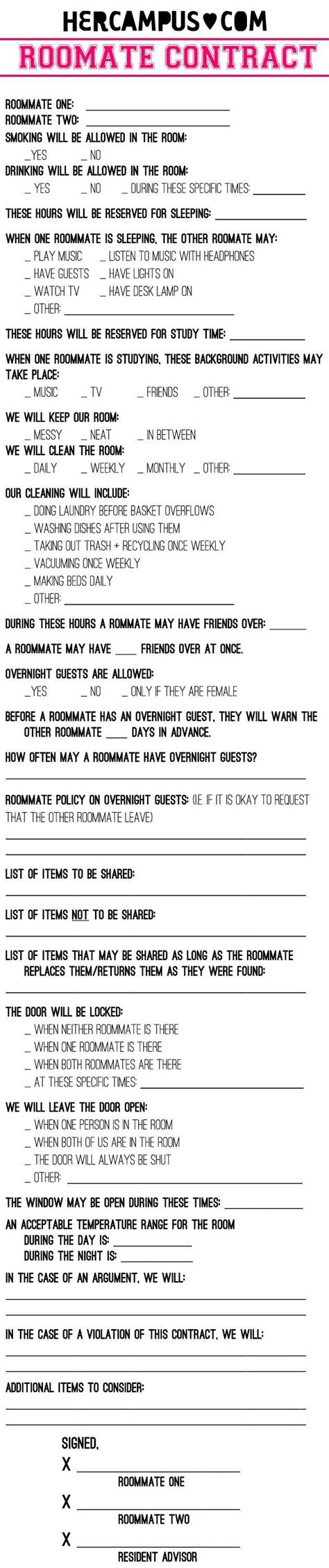 25 Best Ideas About Roommate Rules On Pinterest Flatmate Rooms Roommate Ideas And Roommates College Roommate Contract Template