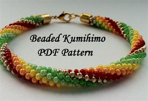 beaded kumihimo patterns beaded kumihimo pdf pattern bracelet tutorial by