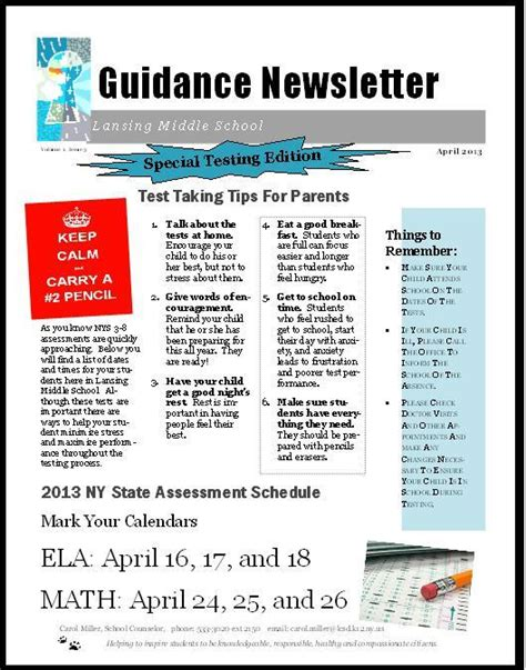 school counselor newsletter keep calm and test on the middle school counselor