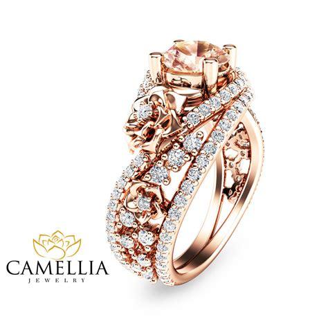 unique gold morganite engagement ring 14k gold