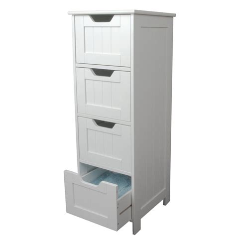 White Bathroom Storage Furniture White Storage Cabinet 4 Large Drawers Home Treats Uk