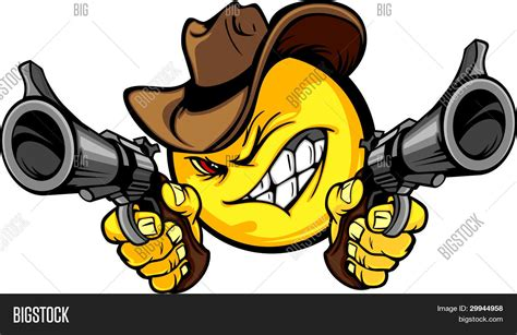 Cowboy Smiley Emoticon Vector Vector Photo Bigstock Cool Drawings Of Shooting 2