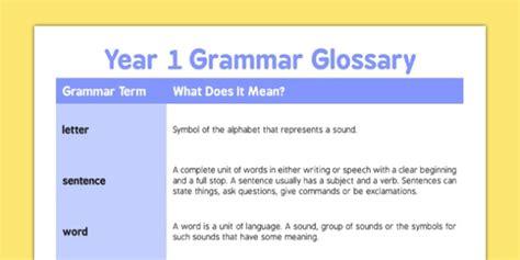 xwordgrammar glossary year 1 grammar glossary year 1 glossary grammar english