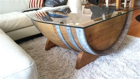 wine barrel coffee table glass top upcycled wood wine barrel becomes pair of beautiful coffee tables leisureboom
