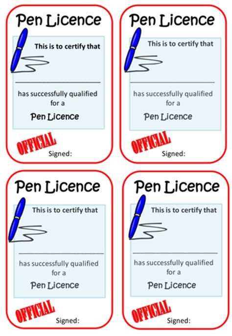 pen licence certificate template pen licence template by hajeramiah teaching resources tes