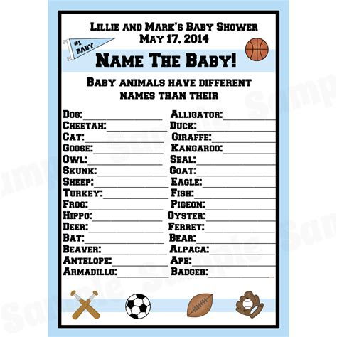 theme names for games 24 personalized baby shower baby animal name game cards