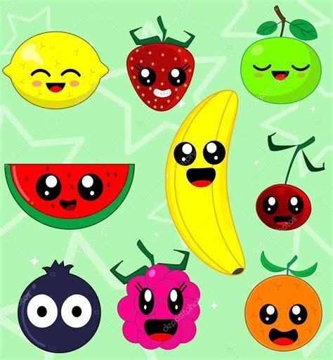 imagenes de frutas kawaii kawaii sonriendo frutas vector de stock 169 rimis164