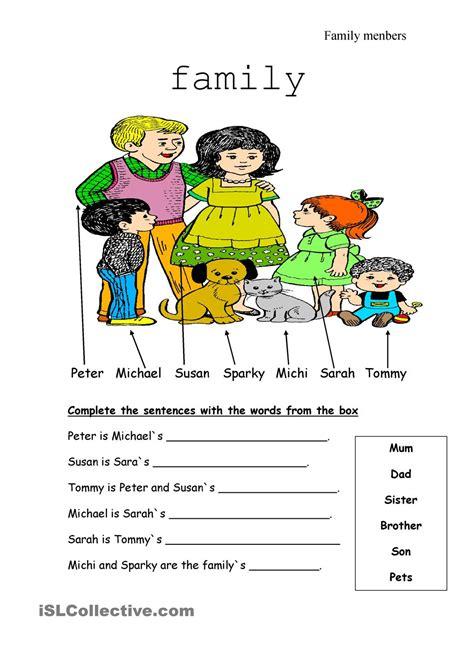 family tree exercise printable family members esl pinterest families printables