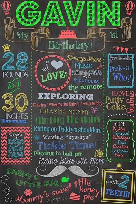 1st birthday chalkboard poster sign printable digital