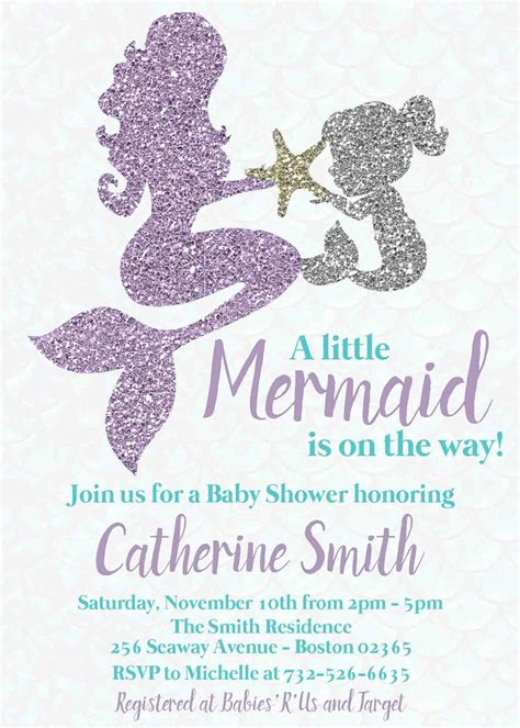 Mermaid Baby Shower Invites by Mermaid Baby Shower Invitation Baby Personalized