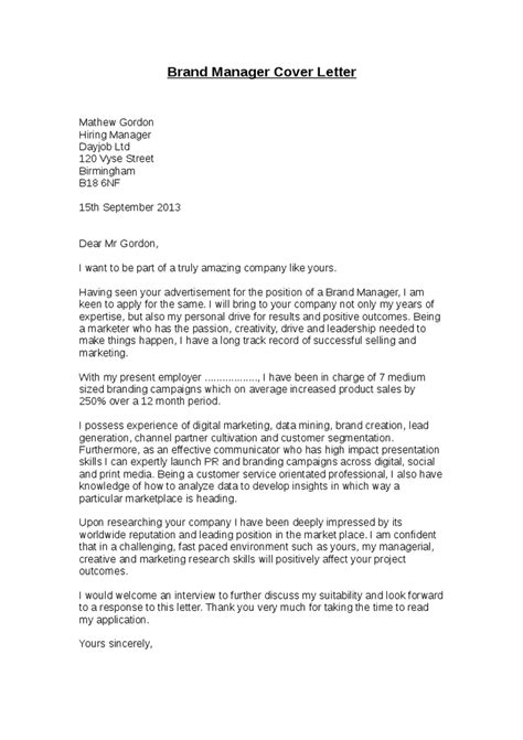 sle cover letter for management brand manager cover letter sle 42 images brand manager