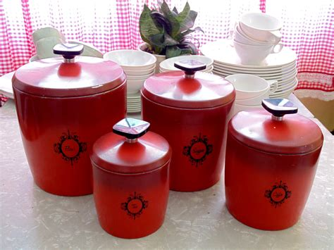 retro kitchen canister set burnt orange tomato by