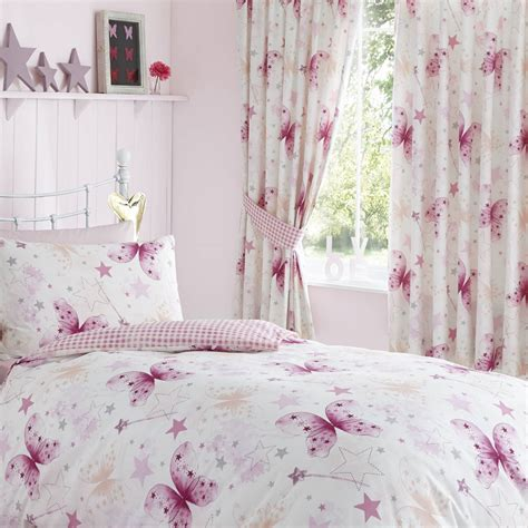 childrens pink curtains butterflies pink girls childrens kids lined curtains 66 quot x