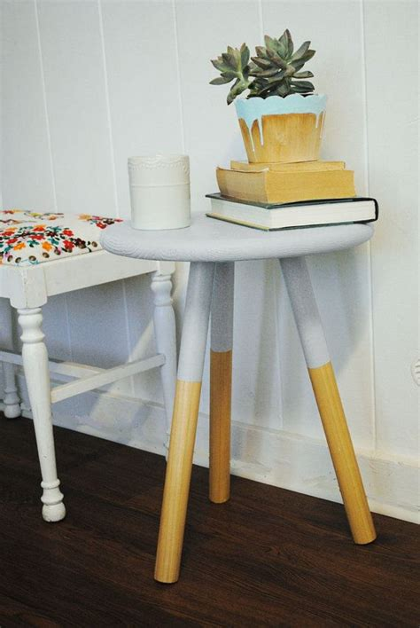 Paint Dipped Three Legged Wooden Side Table Stool In