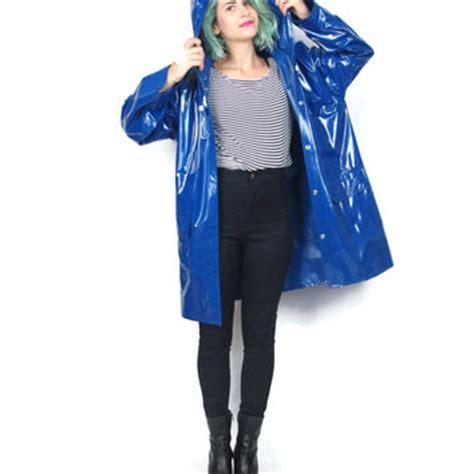 Jo In Raincoat L 90s blue jacket hooded vinyl from honey moon muse