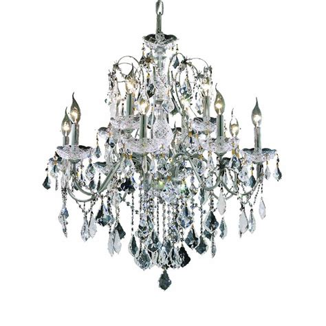 home depot chandeliers lighting 12 light chrome chandelier with clear el2015d28c rc the home depot