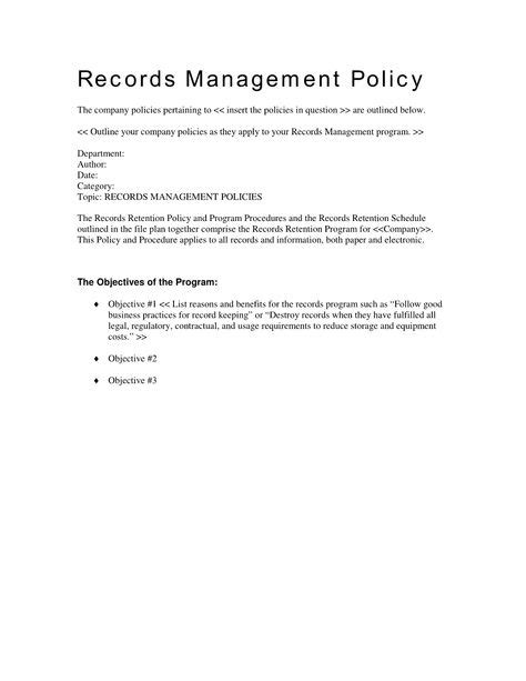 records management policy template records management policy template printable records