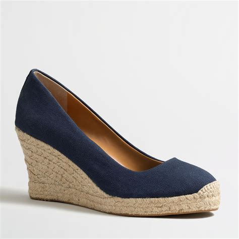 j crew factory canvas espadrille wedges in blue navy lyst