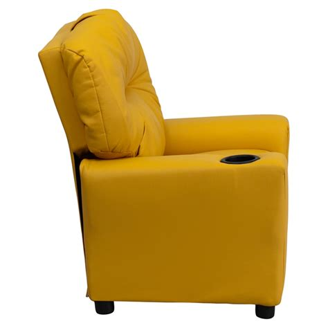 upholstered recliner chairs upholstered kids recliner chair cup holder yellow dcg