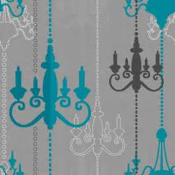 Paper Chandelier Shades Wilko Wallpaper Chandelier Teal Grey Wp332112 At Wilko Com