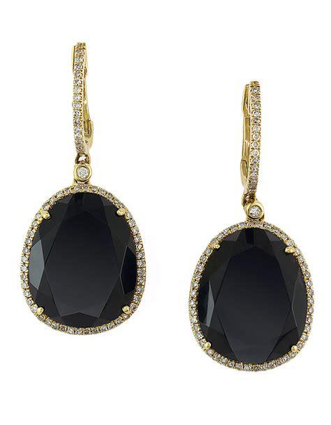 black earrings in gold effy onyx earrings and 14k yellow gold drop